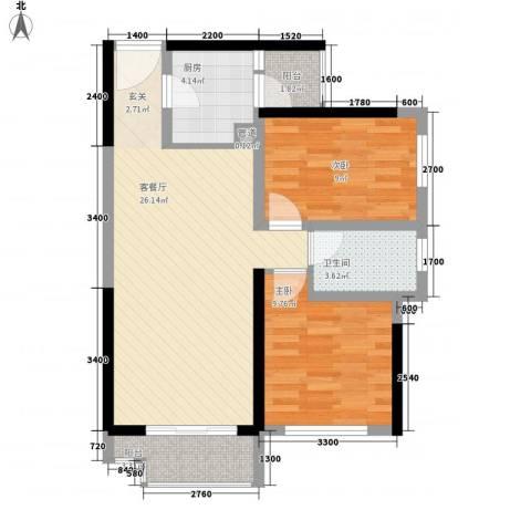 金地朗悦2室1厅1卫1厨75.00㎡户型图