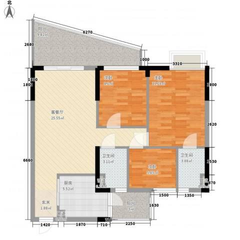 城市花园・莲兴阁3室1厅2卫1厨77.71㎡户型图