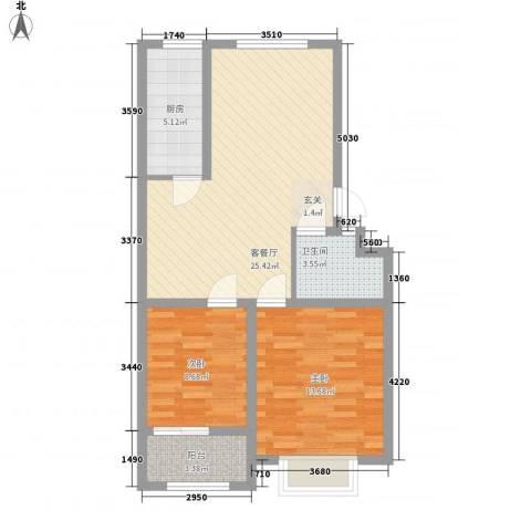 宏富颐景园2室1厅1卫1厨86.00㎡户型图