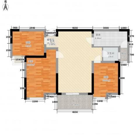 济民可信艾溪康桥3室1厅1卫1厨111.00㎡户型图