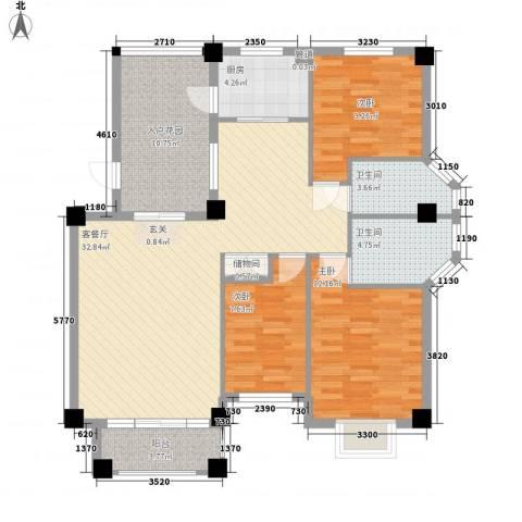 宝龙湖畔花城3室1厅2卫1厨128.00㎡户型图