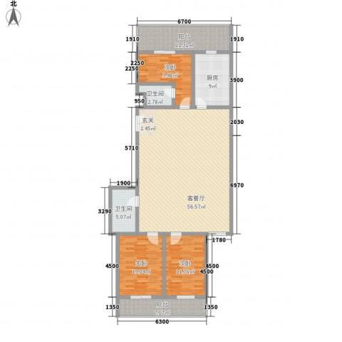 春怡园6号3室1厅2卫1厨177.00㎡户型图