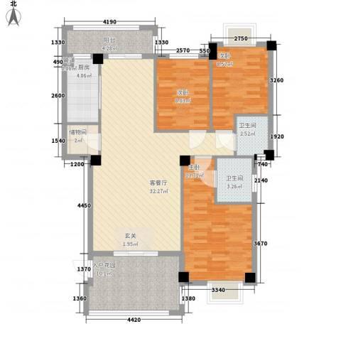宝龙湖畔花城3室1厅2卫1厨126.00㎡户型图