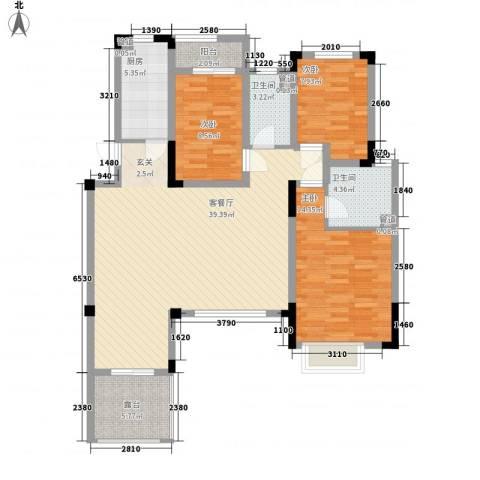 宝龙湖畔花城3室1厅2卫1厨131.00㎡户型图