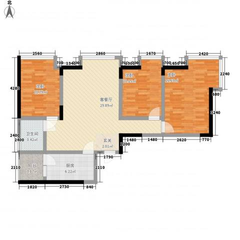 前卫江畔3室1厅1卫1厨124.00㎡户型图