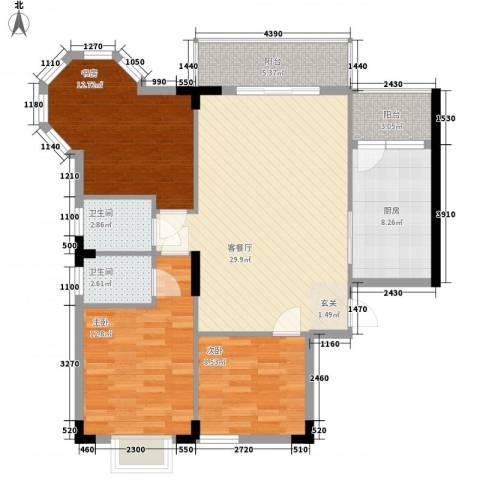 枫叶雅堤3室1厅2卫1厨86.10㎡户型图
