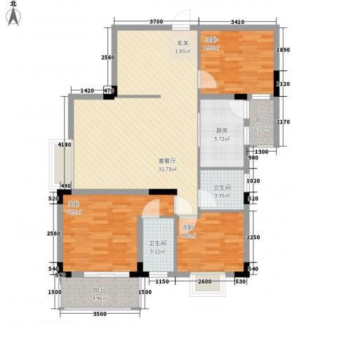 枫叶雅堤3室1厅2卫1厨80.45㎡户型图