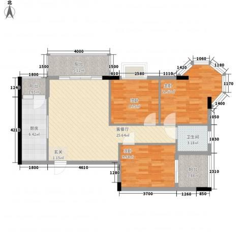 枫叶雅堤3室1厅1卫1厨75.75㎡户型图
