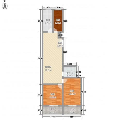春怡园6号3室1厅1卫1厨75.21㎡户型图