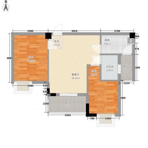 骏隆轩幸福里8号2室1厅1卫1厨49.76㎡户型图