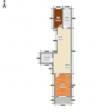 春怡园6号2室1厅1卫1厨84.00㎡户型图