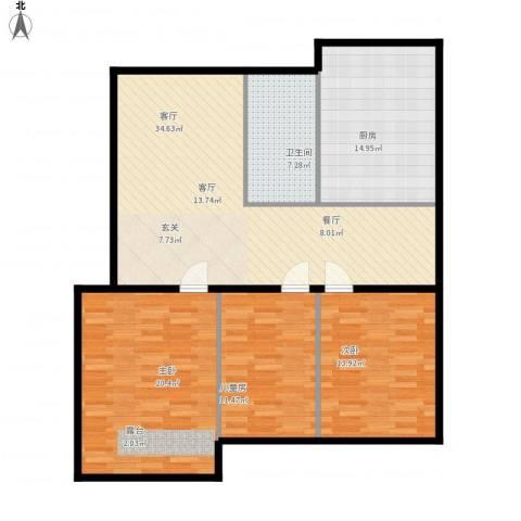 振华苑修正版3室1厅1卫1厨139.00㎡户型图