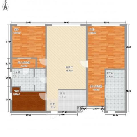 保利世贸公寓3室1厅2卫0厨156.00㎡户型图