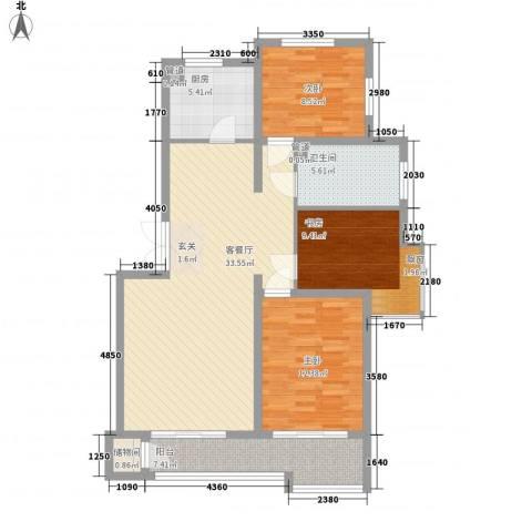 �悦香湾3室1厅1卫1厨83.33㎡户型图