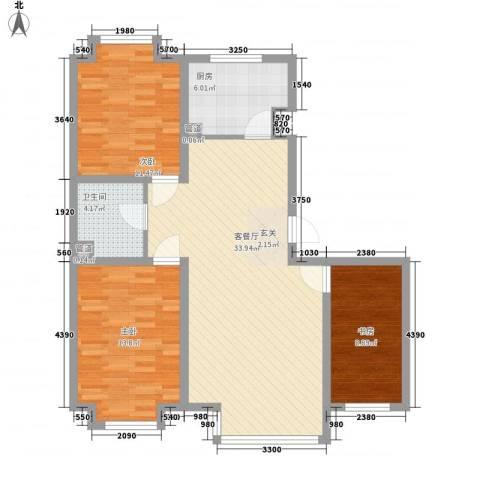 �悦香湾3室1厅1卫1厨112.00㎡户型图