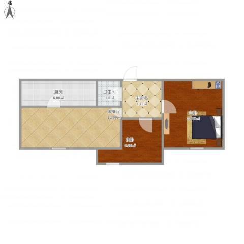 嵩山里2室1厅1卫1厨62.00㎡户型图