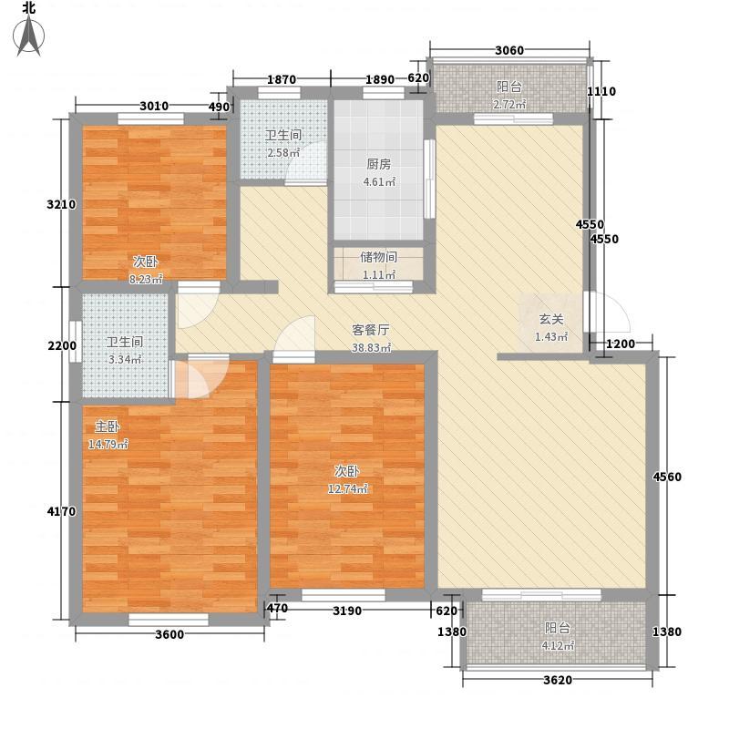 天奇・馨城134.00㎡D6户型3室2厅2卫