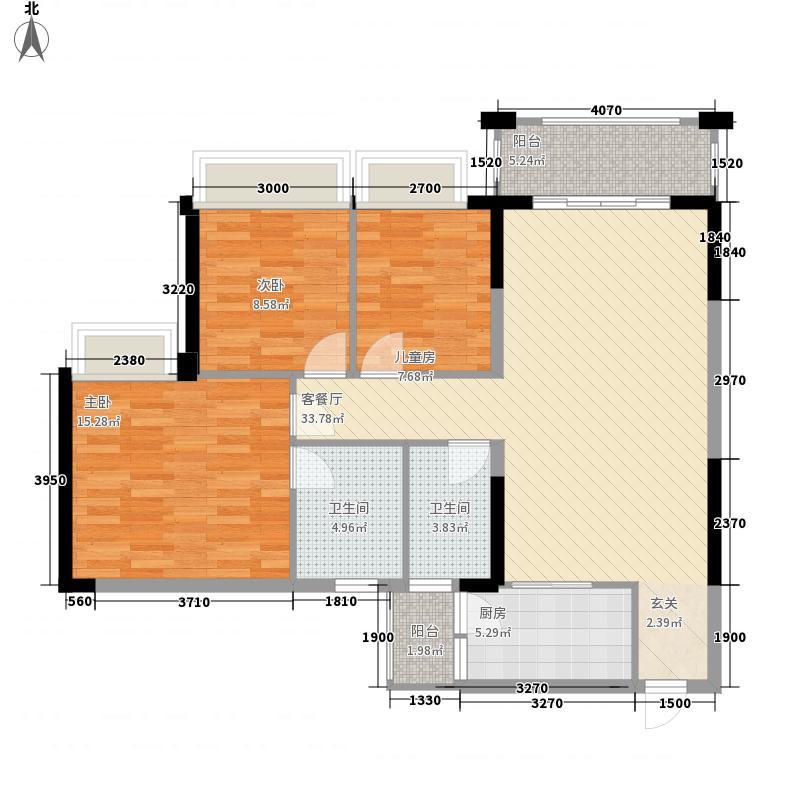 中颐海伦堡113.63㎡三期14栋03单元户型3室2厅2卫