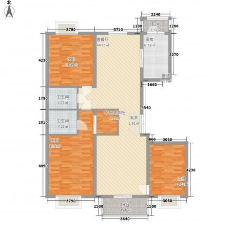 都市广场3室1厅2卫1厨168.00㎡户型图