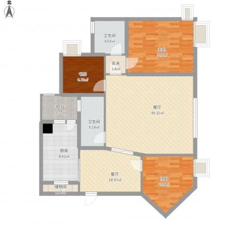 长安华都3室2厅2卫1厨140.00㎡户型图