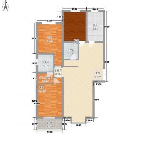 太化时代花园3室1厅2卫1厨97.60㎡户型图