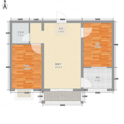 金澜湾2室1厅1卫1厨61.18㎡户型图