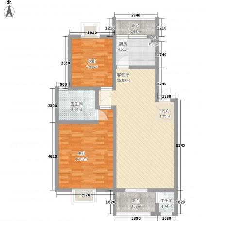 美景园2室1厅2卫1厨80.00㎡户型图