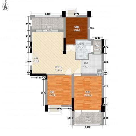 幸福第二城3室1厅1卫1厨104.00㎡户型图