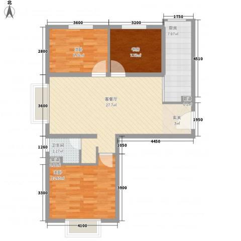 首创・伊林郡3室1厅1卫1厨95.00㎡户型图