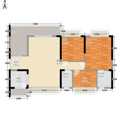 庄士8号3室1厅2卫1厨138.00㎡户型图
