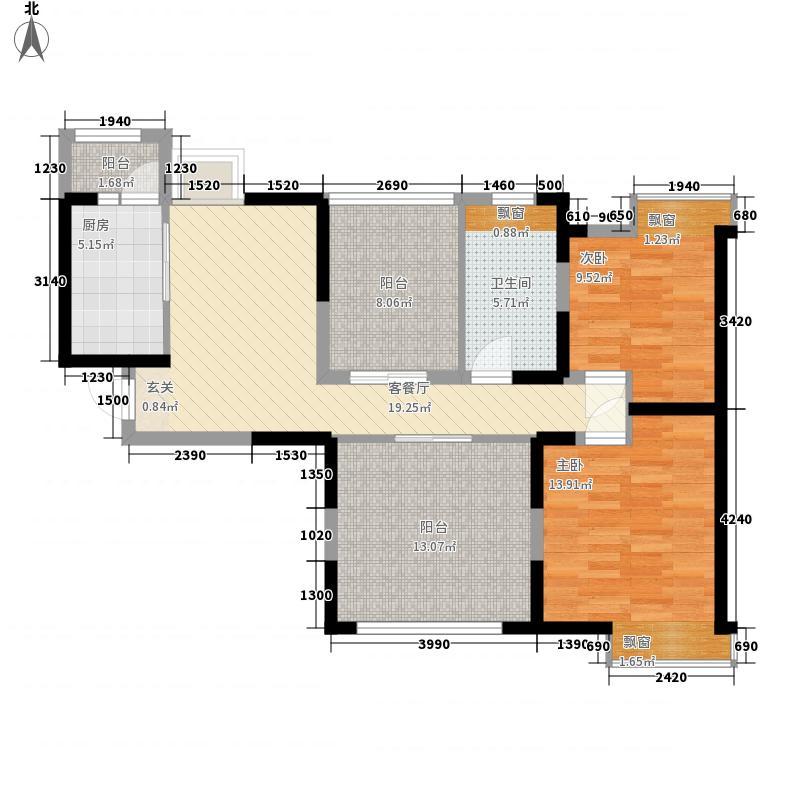 中海熙岸88.00㎡标准层D1-3户型3室2厅1卫1厨