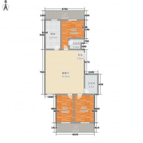 春怡园6号3室1厅2卫1厨180.00㎡户型图