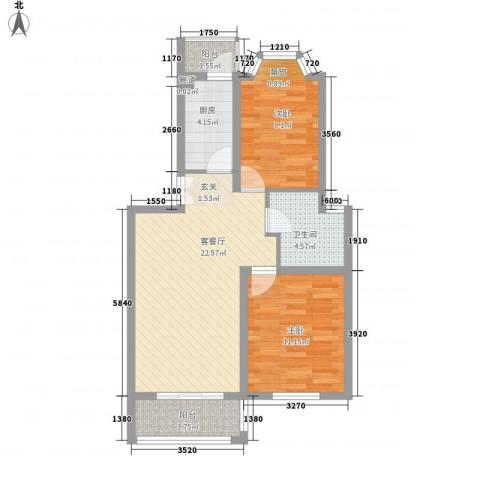 云山华庭2室1厅1卫1厨82.00㎡户型图