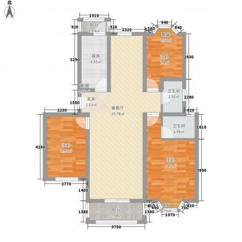 云山华庭3室1厅2卫1厨118.00㎡户型图