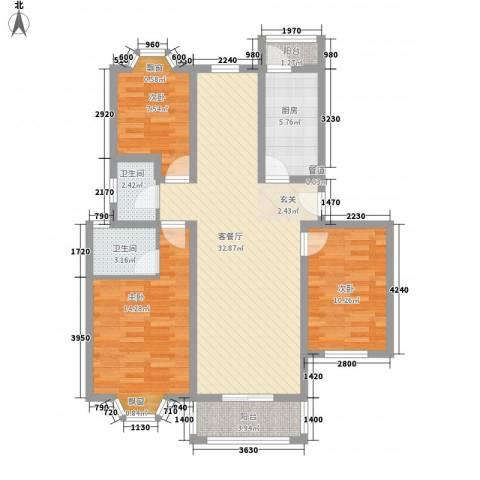 云山华庭3室1厅2卫1厨119.00㎡户型图