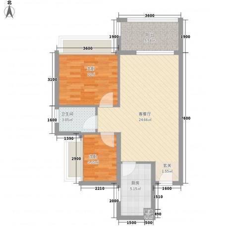 万科城市风景2室1厅1卫1厨53.89㎡户型图