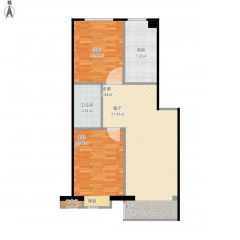 北华家园2室1厅1卫1厨89.00㎡户型图