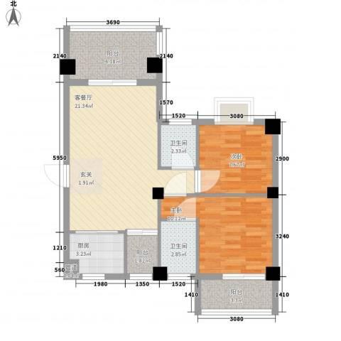 鸿源尚品2室1厅2卫1厨88.00㎡户型图