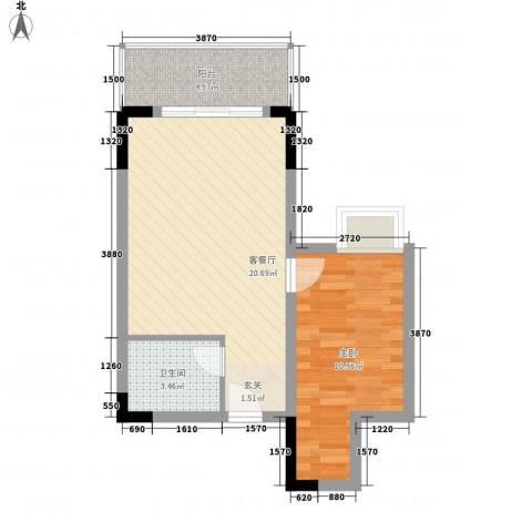 物资小区1室1厅1卫0厨57.00㎡户型图