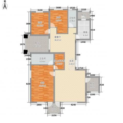 华鼎泰富公馆3室1厅2卫1厨147.92㎡户型图