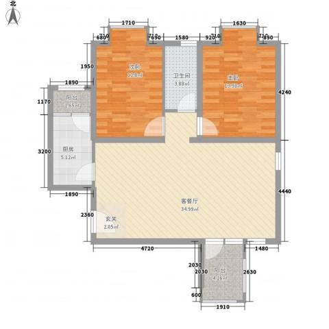 华鼎泰富公馆2室1厅1卫1厨86.03㎡户型图