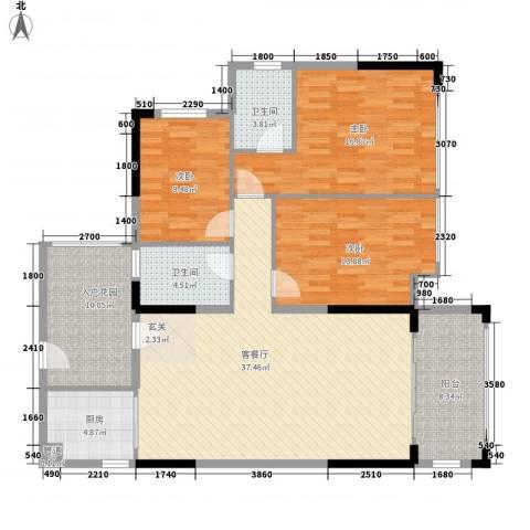 新怡・美丽家园3室1厅2卫1厨151.00㎡户型图