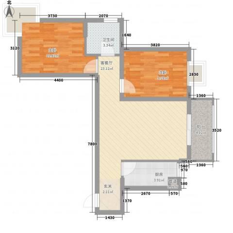 在水一方2室1厅1卫1厨87.00㎡户型图