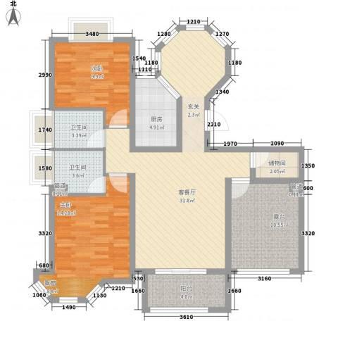 水榭花城2室1厅2卫1厨126.00㎡户型图