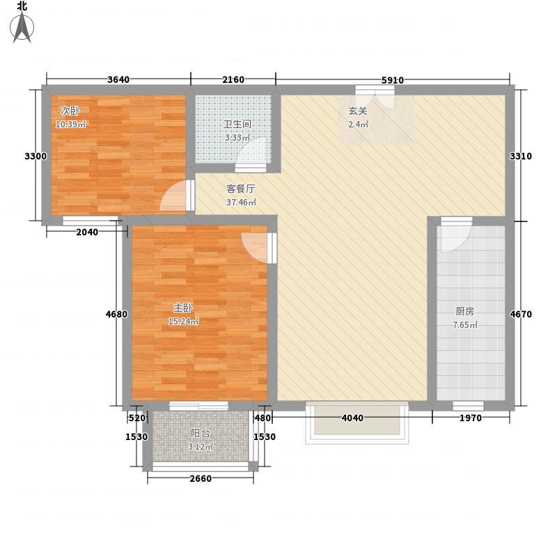 金御龙湾15.24㎡高层B1户型2室2厅1卫