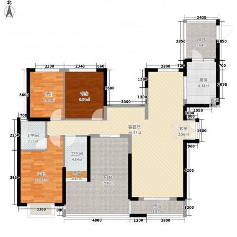 梅福苑3室1厅2卫1厨164.00㎡户型图