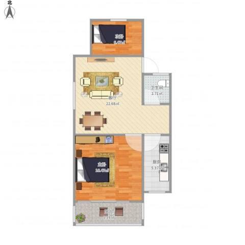 龙福花园2室1厅1卫1厨80.00㎡户型图