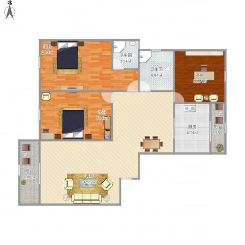 利兹城市公寓3室1厅2卫1厨169.00㎡户型图