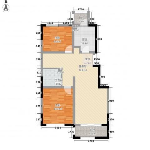 �林2室1厅1卫1厨102.00㎡户型图