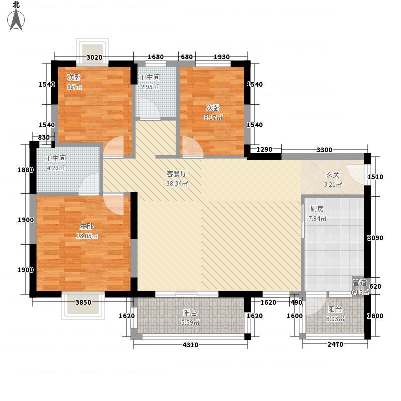 金莎花园115.00㎡户型3室